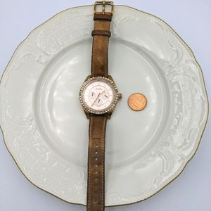 Fossil Watch Pink Face Crystal Circle Leather Band